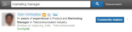 Linkedin headline: voorbeeld marketing manager
