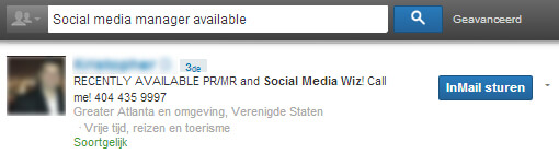 Linkedin headline: voorbeeld social media manager available