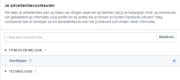 Facebook advertenties - advertentievoorkeuren