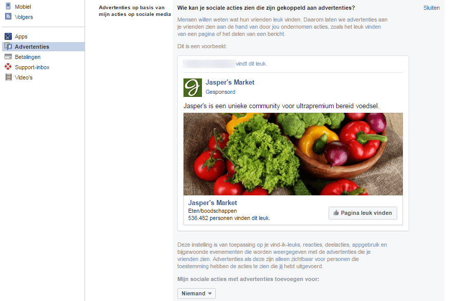 Facebook advertenties - op basis van mijn social media acties