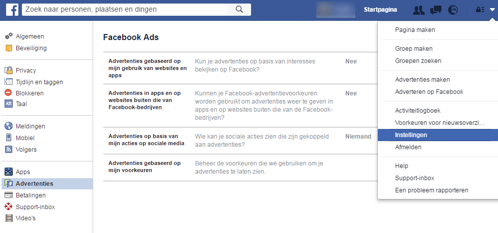 Facebook advertenties - privacy instellingen
