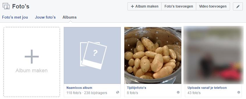 Facebook foto albums pivacy instellingen aanpassen