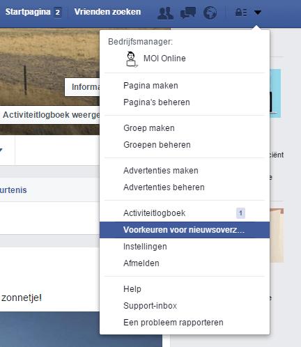 Facebook nieuwsoverzicht voorkeuren - Voorkeur aangeven PC