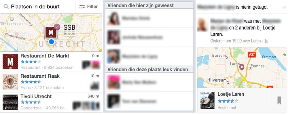 Facebook profiel en locatie-activiteiten in advertenties