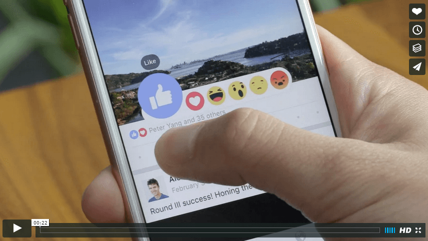 Facebook reactieknoppen - like-knop video 2