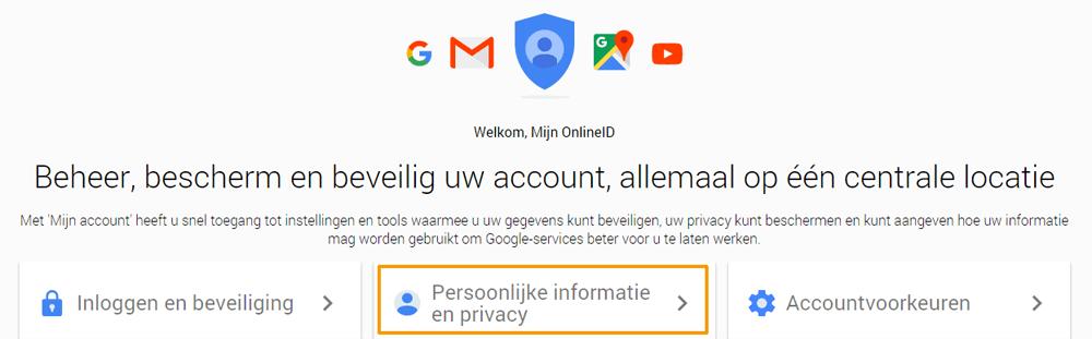Google geschiedenis wissen - account instellingen