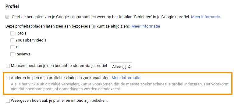 Google plus profiel verwijderen zoekresultaten voorbeeld