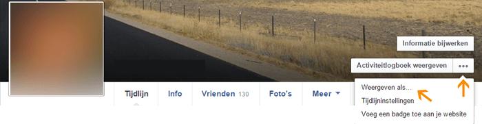 Instellingen Facebook - profiel bekijken