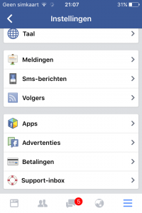 Instellingen Instagram - Facebook apps