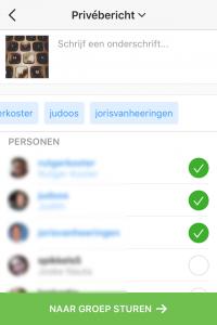 Instellingen Instagram - prive bericht versturen