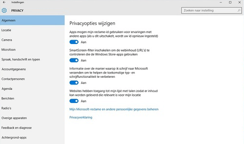 Instellingen windows 10 - Windows privacy - reclame instellingen
