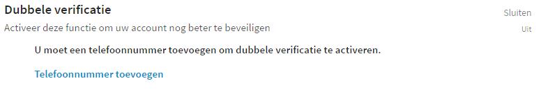 LinkedIn privacy instellingen - Dubbele verificatie
