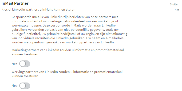 LinkedIn privacy instellingen - Inmail partners