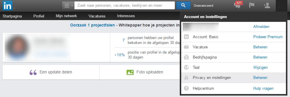 LinkedIn privacy instellingen - Locatie privacy instellingen