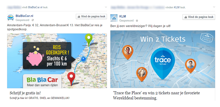 Naam in gesponsorde Facebook advertenties