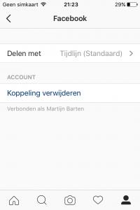 Privacy instellingen Instagram - Delen Facebook verwijderen 2