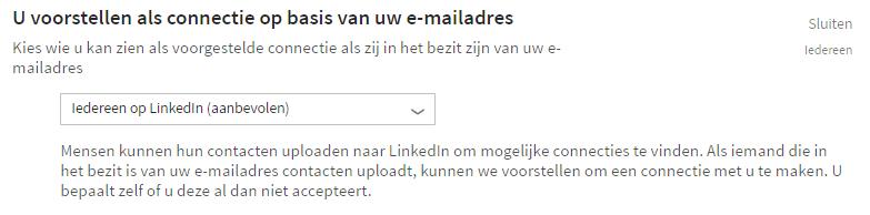 Privacy instellingen LinkedIn - connecties op basis van e-mailadres