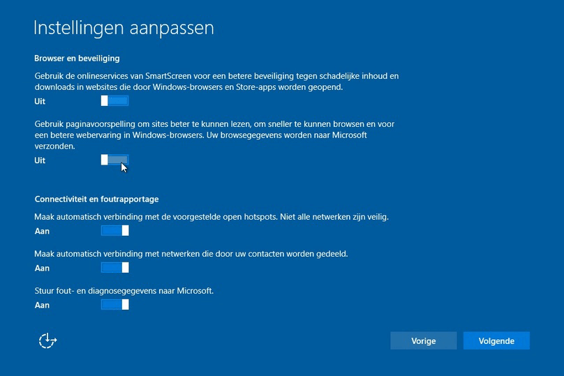 Privacy instellingen windows 10 - browser en beveiliging
