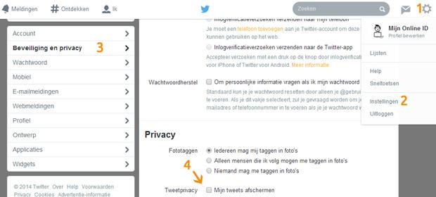 Twitter account - Tweets afschermen