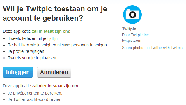 Twitter applicaties koppelen - Twitpic