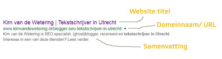 Voorbeeld gevonden worden in Google