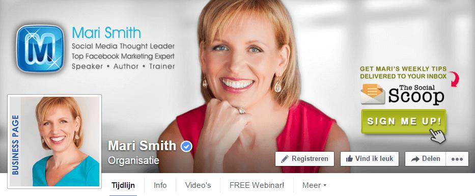 Voorbeeld zakelijke Facebookpagina - Personal branding