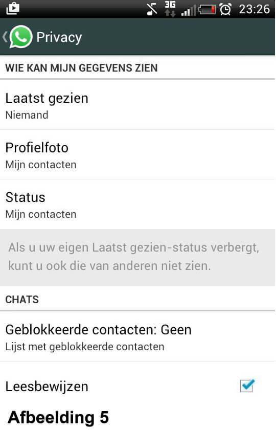 Whatsapp leesbewijzen - Privacy instellingen