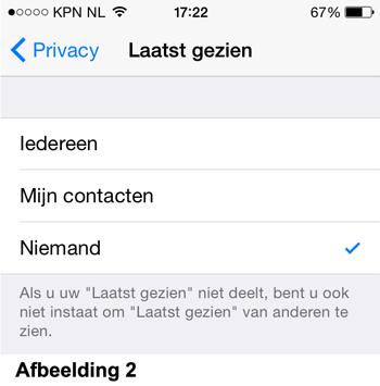 Whatsapp privacy instellingen - Laatst gezien